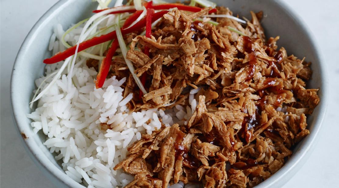 Vegetarian Shredded Hoisin Duck with honey and ginger